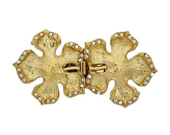 Five-Strand Double Flower Clasps with Hidden Rings in Gold or Rhodium Finish, 53x29mm