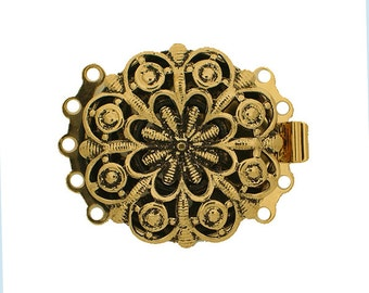 Five-Strand Round Rococo Box Clasp in Two Antique Finishes, 26mm