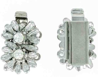 Two-Strand Double Flower Slide Clasp in Gold or Rhodium Finish with Swarovski Crystal Centers, 10x18mm