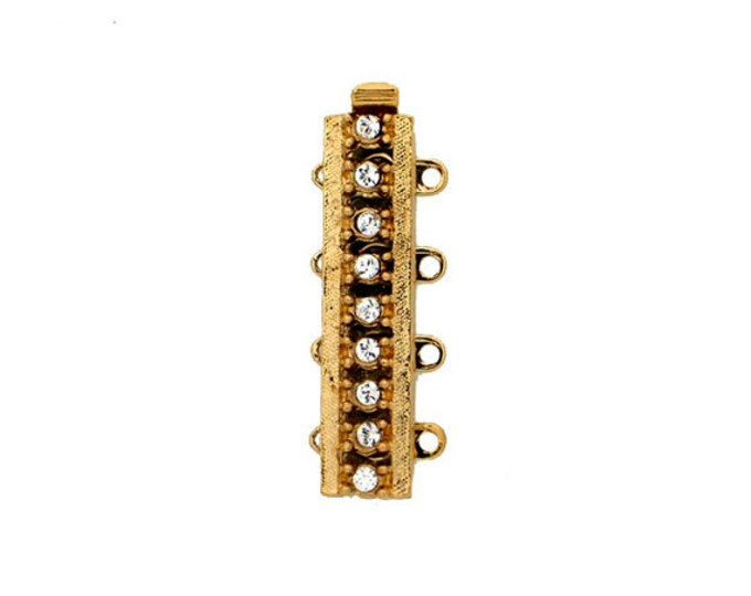 Four-Strand Cuff Slider Bracelet Clasp with Swarovski Crystals in Gold or Rhodium Finish, 26x6mm