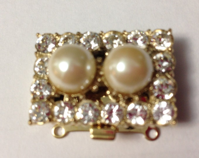 Two-Strand Double Pearl Clasp Surrounded by Swarovski Crystals in Gold or Rhodium Finish,  28x18mm