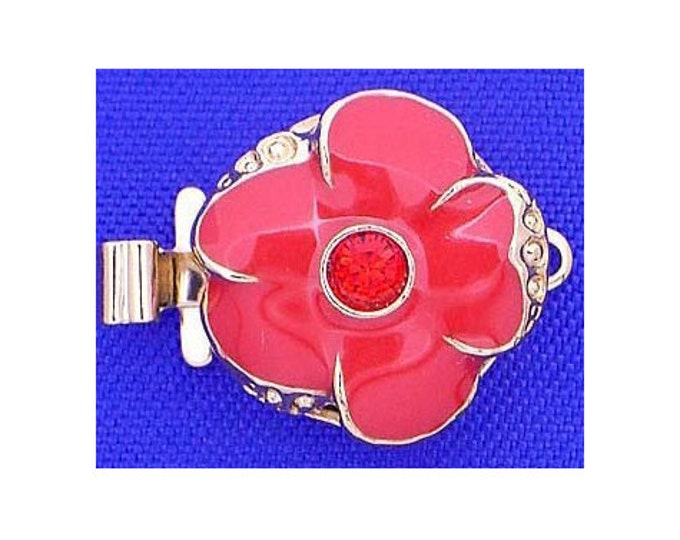 Small One-Strand Red Enamel  Flower Clasp with Swarovski Crystal Center in Gold or Rhodium Finish, 13mm