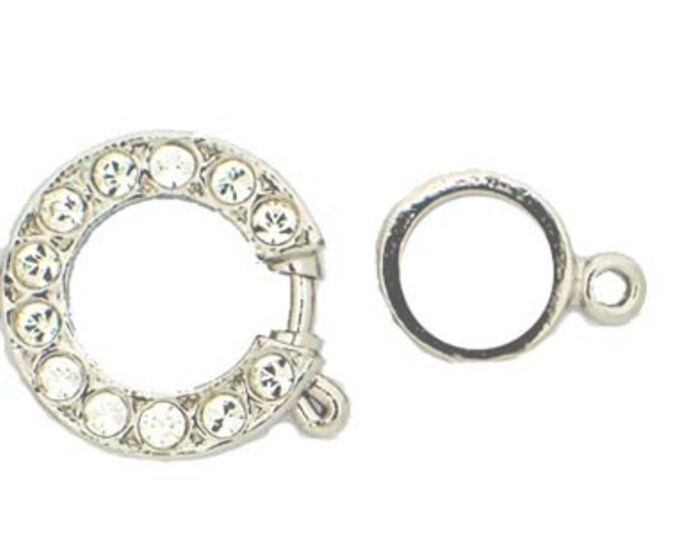 One-Strand Wedding Perfect Spring Ring Clasp with Swarovski Crystals, in Gold or Rhodium, 14.5mm