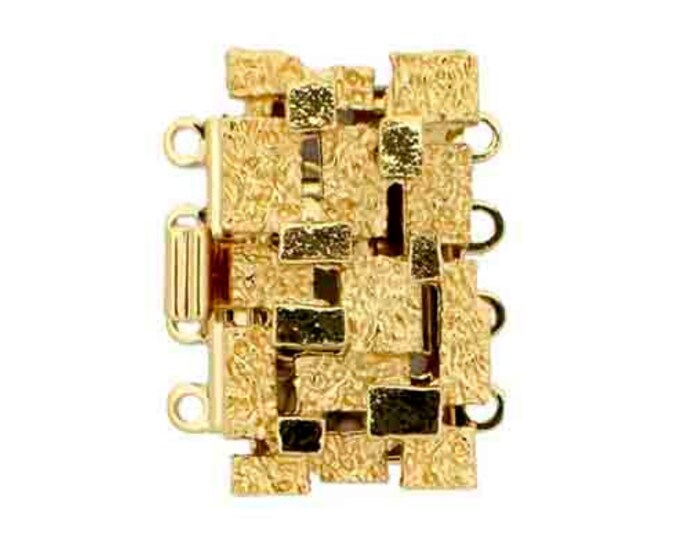 Stylized Four-Strand Basket Weave Clasp in Gold or Rhodium, 19.5x12mm