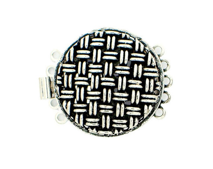 Five-Strand Basketweave Pattern Round Box Clasp in Two Antique Finishes, 20mm