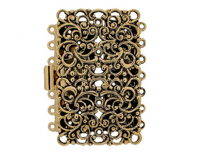 Intricate Seven-Strand Filigree Cuff Clasp in Two Antique Finishes, 27x44mm