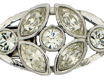 Three-Strand Swarovski Crystal Oval Wedding-Perfect Box Clasp in Gold or Rhodium Finish, 21x16mm