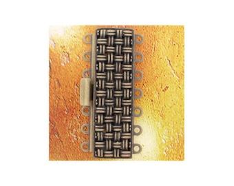Seven-Strand Basket-Weave-Pattern Clasp in Antique Brass, 37x11mm