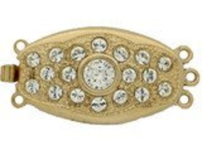 Three-Strand Oval Box Clasp with Inlaid Swarovski Crystals in Gold or Rhodium Finish, 26x15mm