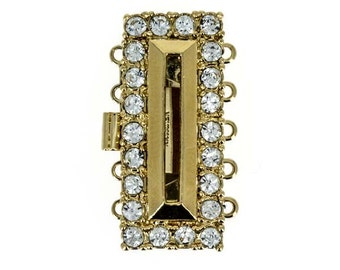 Five-Strand Rectangular Cut-Out Box Clasp with Swarovski Crystals in Gold or Rhodium Finish, 28x12mm