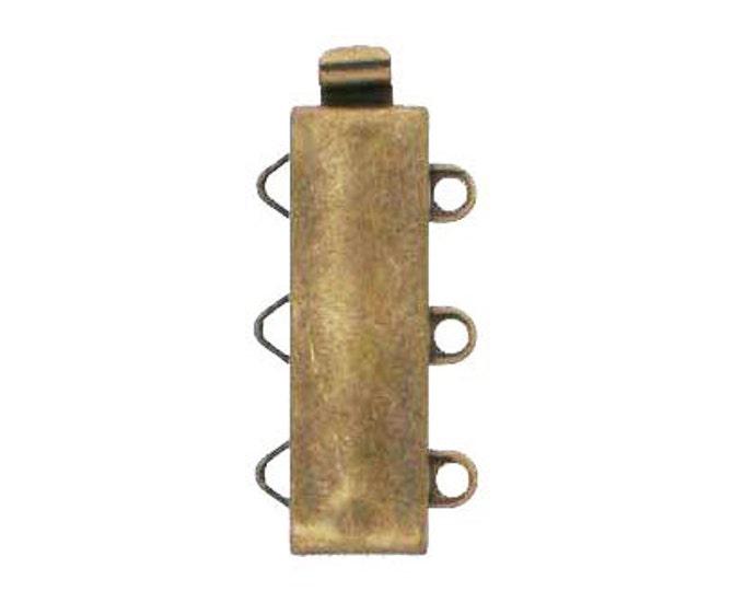Three-Strand Slider Clasp in Antique Brass Finish, 19x6mm