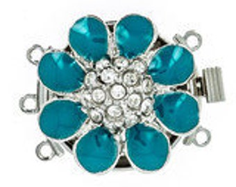 Enamel Three-Strand Daisy Clasp in Five Colors with Swarovski Crystal Center, 22x16mm