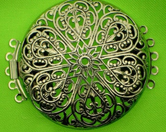 Five-Strand Round Large Round Filigree Clasp in Two Antique Finishes, 40mm