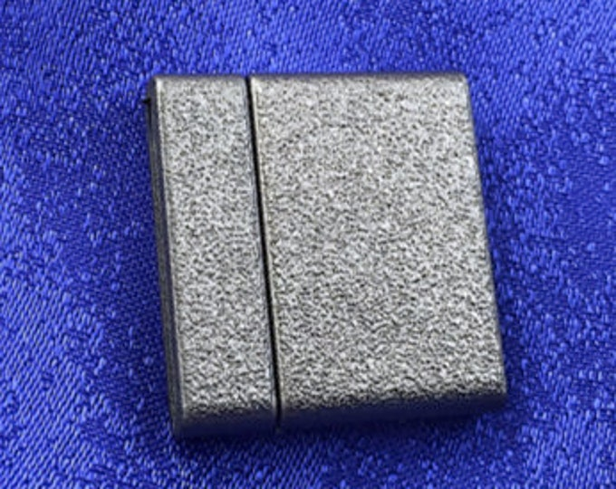 Magnetic Glue-In Clasp for 20mm Leather, Vinyl or Flat Beaded Bracelets,  21x23mm, in Granite Finish