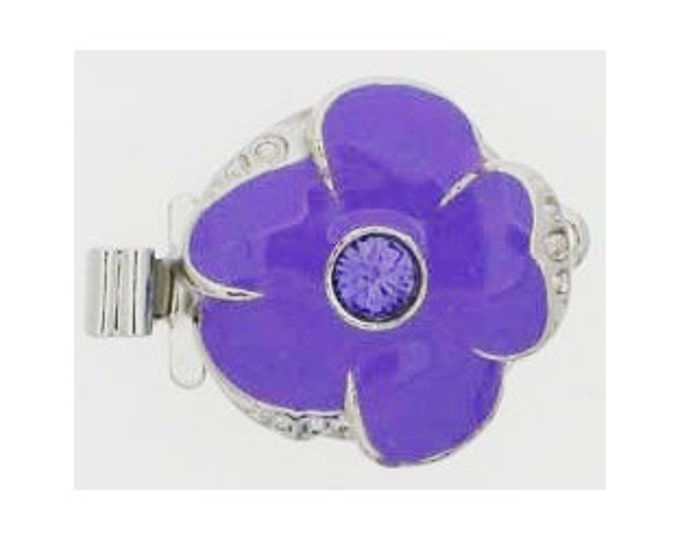 Small One-Strand Tanzanite Enamel Flower Clasps with Swarovski Crystal Centers in Gold or Rhodium Finish, 13mm