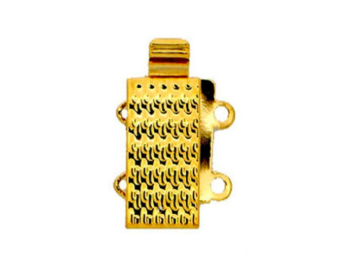 Two-Strand  Slider Clasp in Patterned Rhodium or Gold Finish, 16x6mm