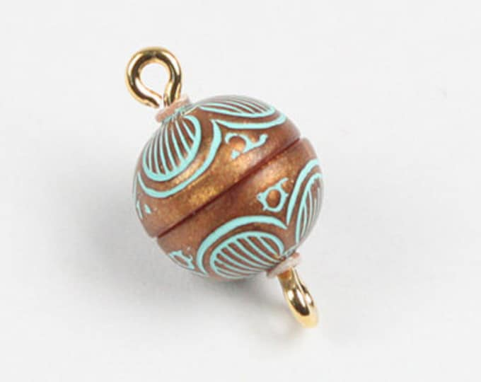 Volume Discount (10 per package) 10mm Magnetic Clasps in Copper and Turquoise Pattern