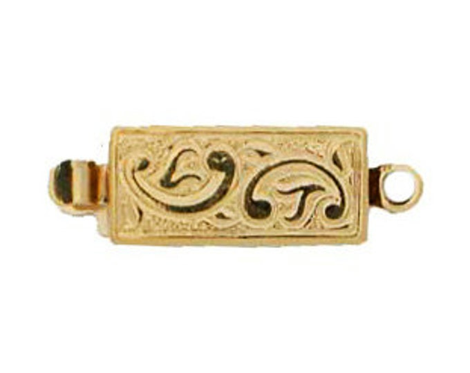 One-Strand Leaf-Patterned Box Clasp in Gold or Rhodium, Ten per Order, 12x9mm