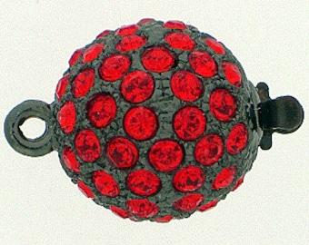 Medium, One-Strand Swarovski Crystal-Studded Ball Box Clasp in Ruthenium (Gunmetal) Finish with Hyacinth Crystals, 14mm