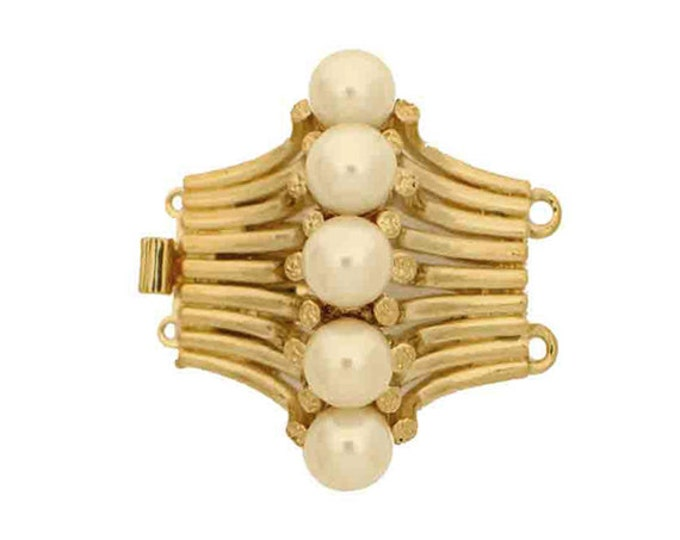 Two-Strand Pearl Necklace Clasp With Center Row of Five Pearls in Gold or Rhodium, 30x25mm
