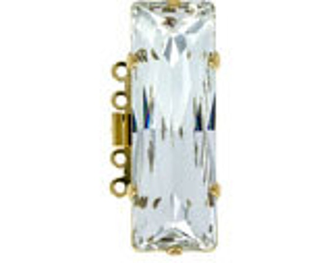 Large, Five-Strand Swarovski Crystal Baguette Box Clasp in Gold or Rhodium Finish, 31x10mm