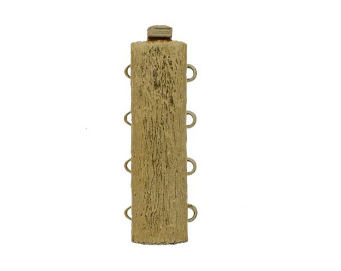 "Four-Strand ""Tree Bark"" Slider Clasp in Gold or Rhodium Finish, 10x28mm"