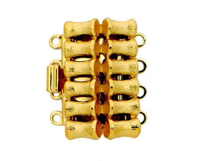"Four-Strand ""Bamboo"" Clasp in Gold or Rhodium Finish, 20x12.5mm"