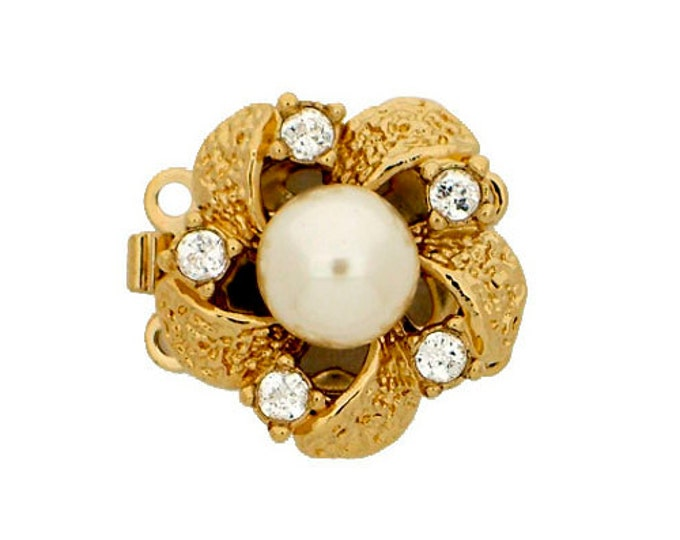 Two-Strand Center Pearl Necklace Box Clasp in Gold or Rhodium Finish with Swarovski Crystal Accents, 16mm