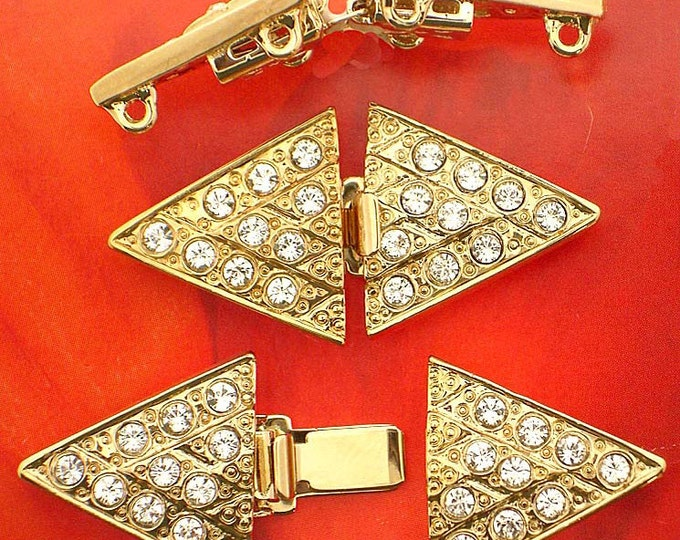 Art Deco Three-Strand Double Triangle Clasp in Gold or Rhodium Finish with Swarovski Crystals, 35x18mm