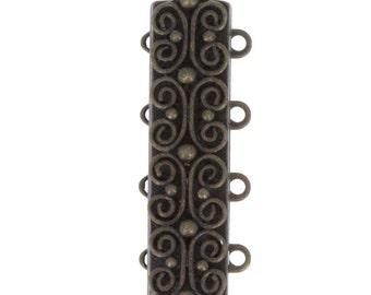 Four-Strand Scroll-Patterned Slider Bracelet Clasp in Antique Brass Finish, 25x7mm