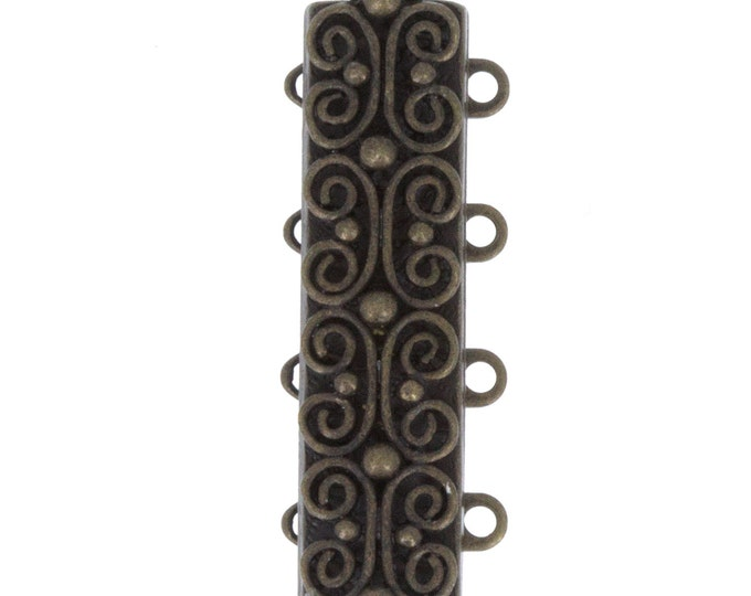 Four-Strand Scroll-Patterned Slider Bracelet Clasp in Antique Brass Finish, 25x7mm