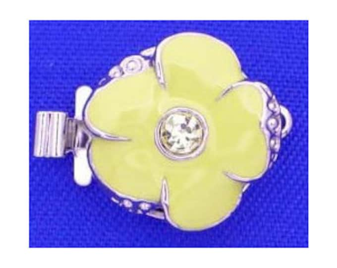 Small One-Strand Jonquil Enamel Flower Clasps with Swarovski Crystal Centers in Gold or Rhodium Finish, 13mm