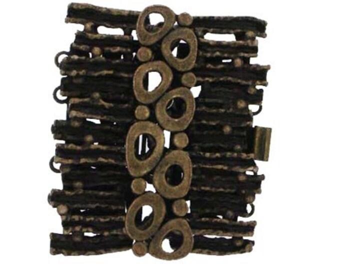Wide Five-Strand Organic Boho Cuff Clasp in Two Dark Finishes - Antique Brass and Black Copper, 32x28mm