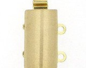 Two-Strand Sterling Silver or Light Gold Convex Slider Clasp, Satin Finish, 13x8mm