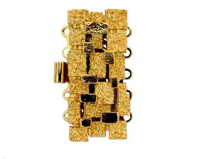 Stylized Five-Strand Basket Weave Box Clasp in Gold or Rhodium Finish, 28x13mm
