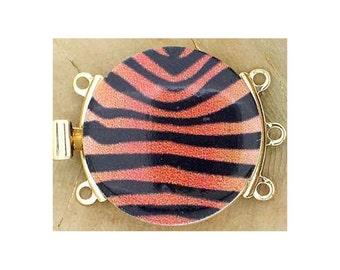 Three-Strand Round Tiger-Print Clasp in Gold Finish, 25mm