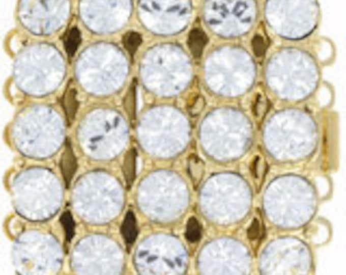 Five-Strand Square Swarovski Crystal Box Clasp in Gold or Rhodium Finish,  21x21mm