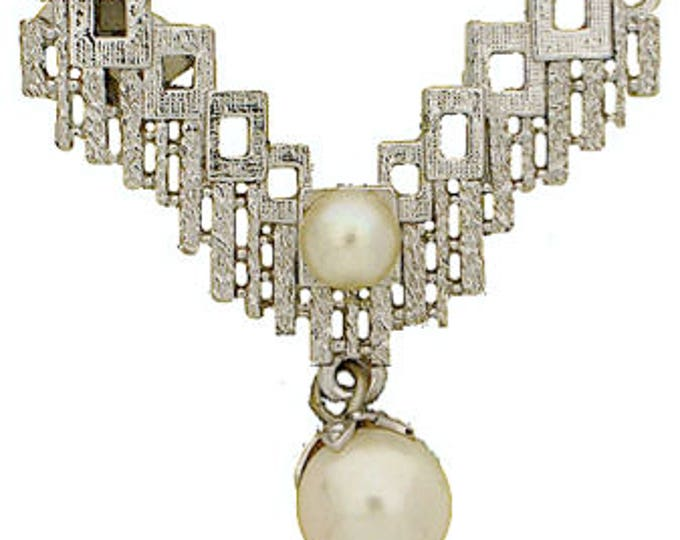 One-Strand Geometric Pearl Festoon Necklace Clasp, Perfect for Weddings, in Rhodium Finish, 32x21mm