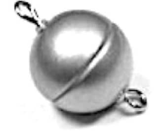Volume Discount (10 per package) Stainless Round Magnetic Clasps in Matte Finish, Three Sizes - 8mm, 10mm, and 12mm