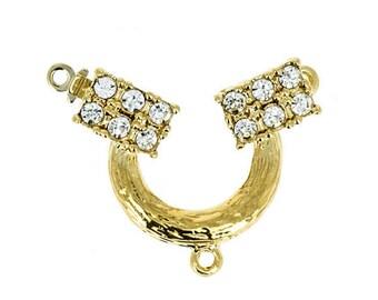 One-Strand Swarovski Crystal Festoon Necklace Clasp in Gold or Rhodium, 22x28mm