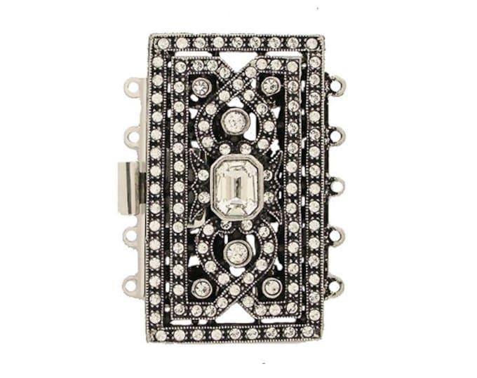 Large Five-Strand Cuff Bracelet Clasp in Old Palladium Finish with Swarovski Crystals, 26.5x46mm