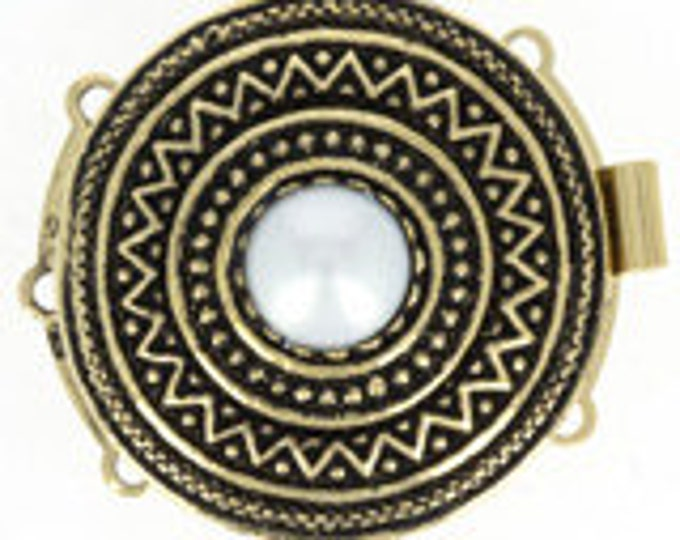 Large, Three-Strand Ethnic Round Box Clasp in Antique Gold with Center Pearl, 27mm