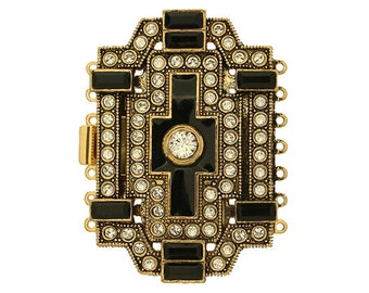 Seven-Strand Large Art Deco Cuff Bracelet Clasp in Two Finishes, 54x37mm