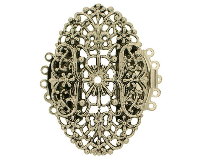 Five-Strand Filigree Cuff Bracelet Clasp in Two Antique Finishes, 47x30mm