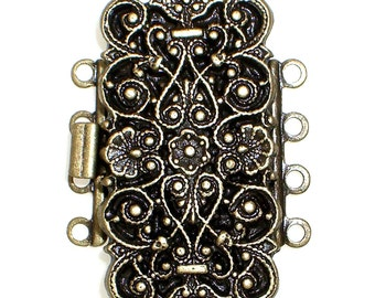 Four-Strand Ornate, Baroque-Patterned Rectangular Box Clasp in Antique Brass Finish, 29x14mm