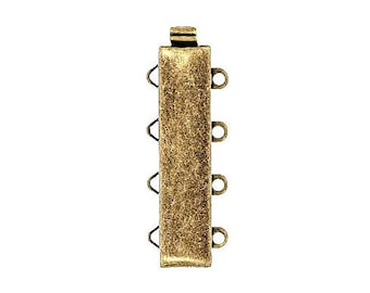Four-Strand Slider Clasp in Antique Brass Finish, 25x6mm