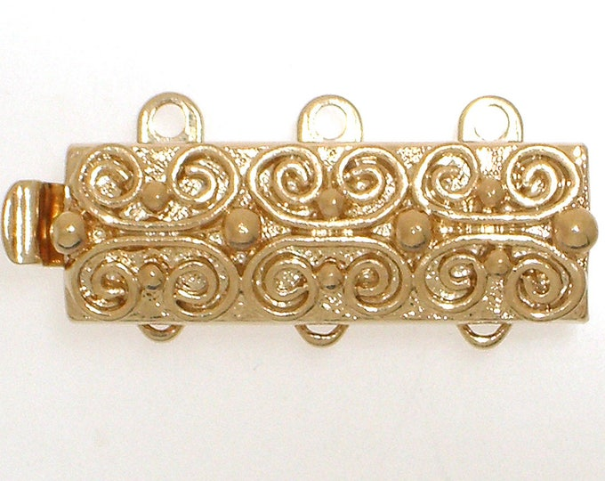 Three-Strand Scroll-Patterned Slider Clasps in Gold or Rhodium Finish, 19x7mm