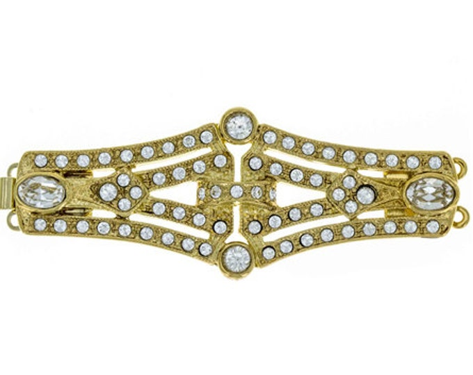 Art Deco Two-Strand Wide Box Clasp in Gold or Rhodium Finish with Swarovski Crystals, 56x22mm