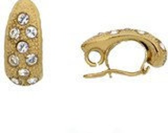 Hinged Bail in Gold or Rhodium Finish with Swarovski Crystals, 19x8mm
