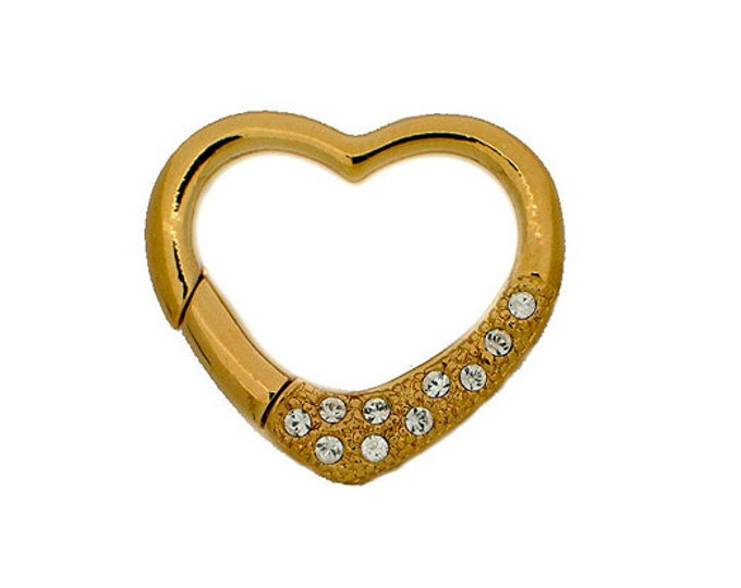 Larger Heart-Shaped Wedding-Perfect Hinged Clasp in Gold or Rhodium with Swarovski Crystals, 27x25mm